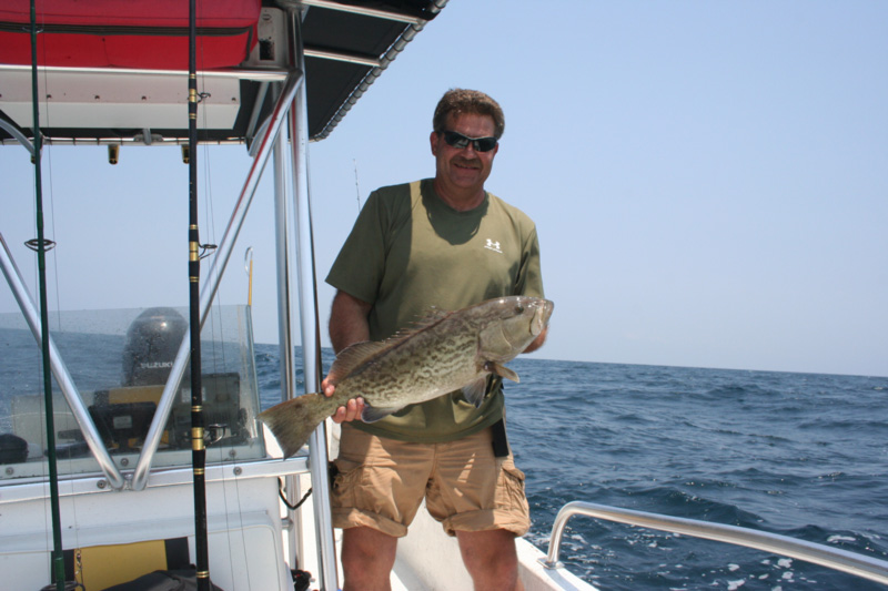 grouper angler holds up fish
