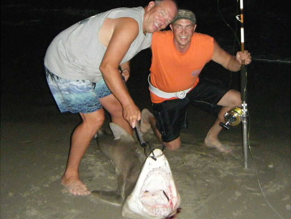 surf fishing for a sand tiger shark