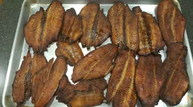 smoked blue catfish fillets