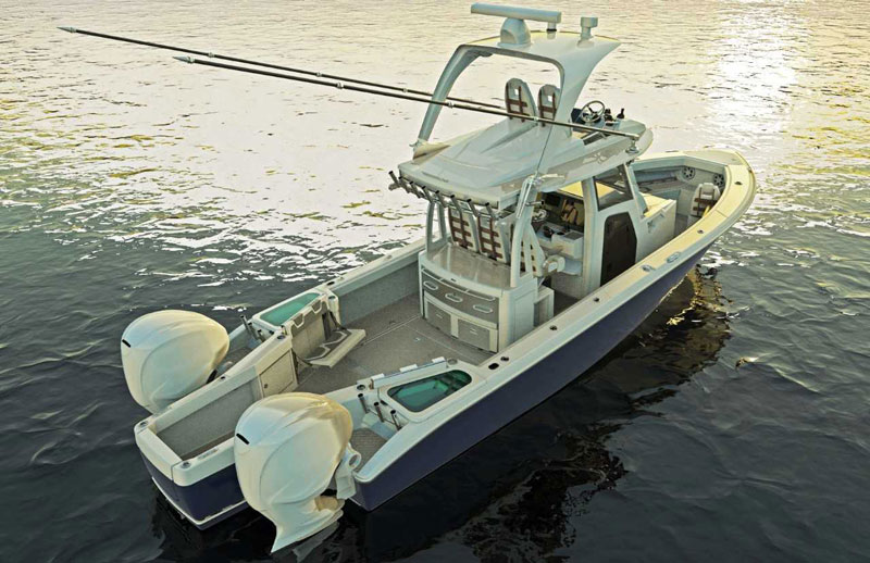 illustration of solace 345 center console fishing boat