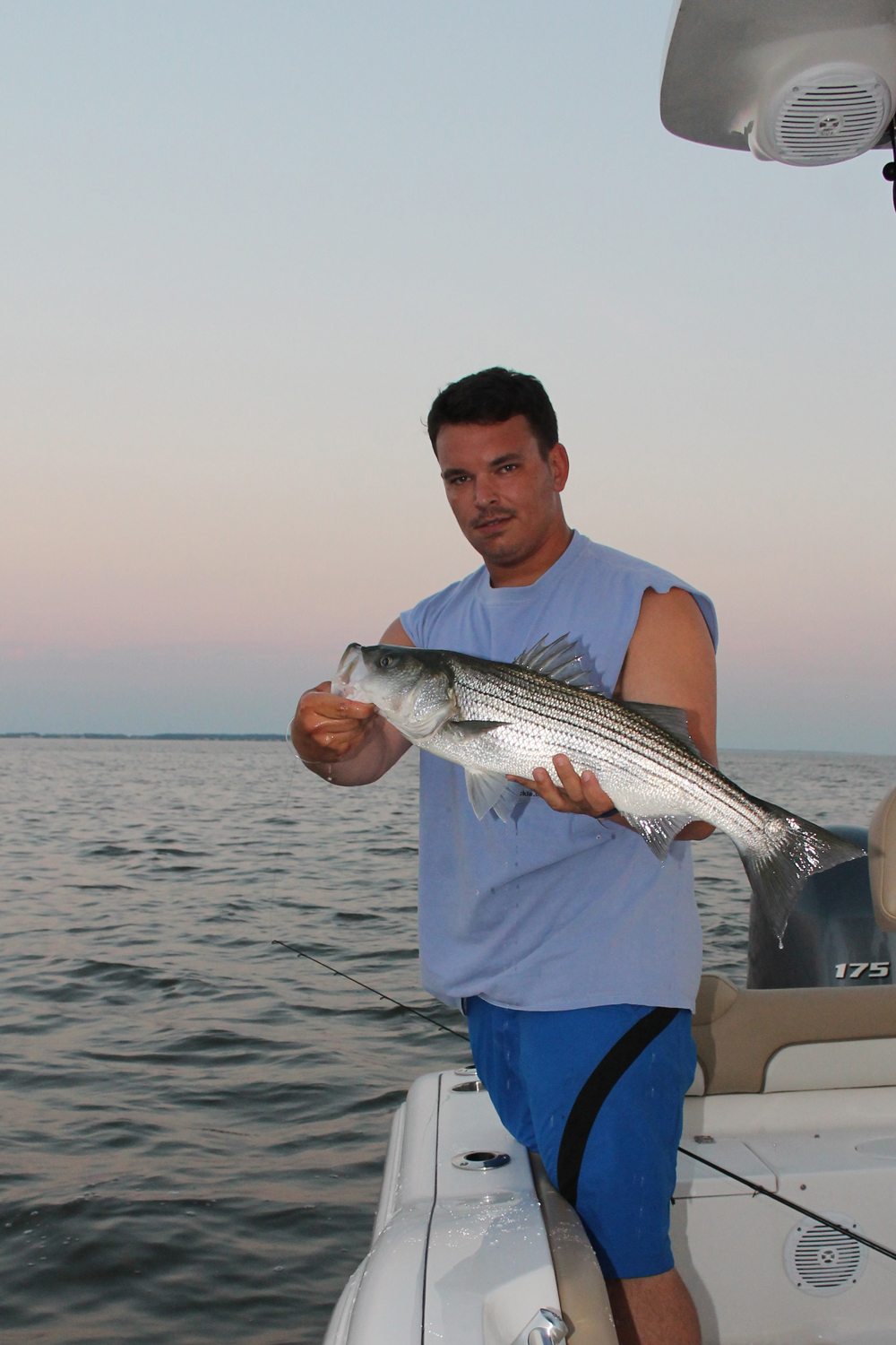 author with a striper