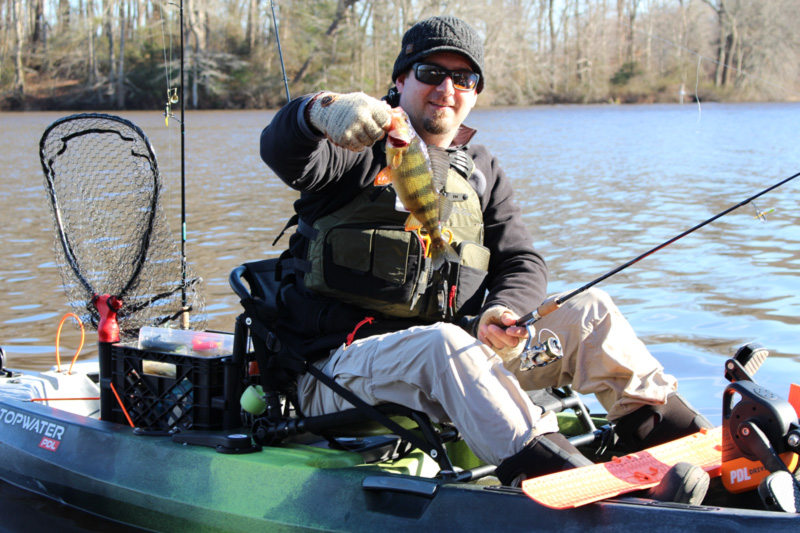kayak angler with a perch